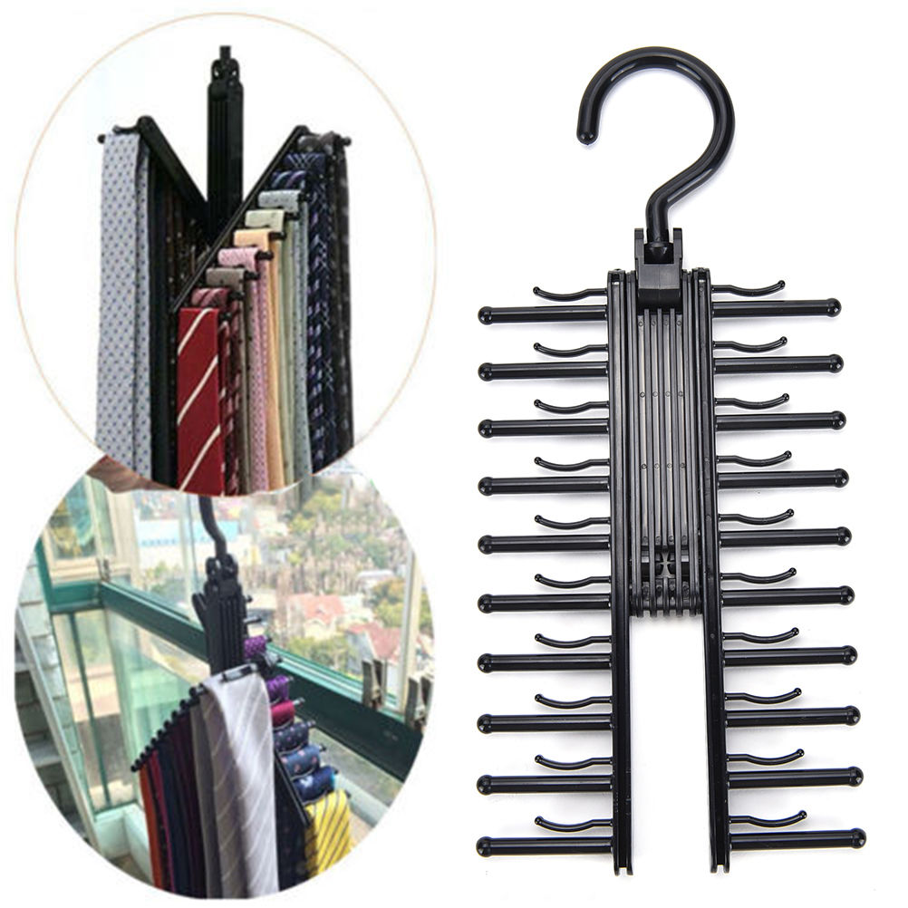 360° Rotating 20 Tie Belt Scarf Compact Hanger Rack Holder Organiser LC