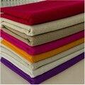 2016 Nueva Llegada! Color puro Algodón Tela de Lino Telas de Tejido Plano De Costura Textil Tela 140 cm de Ancho * 2 Metros de 26 Colores