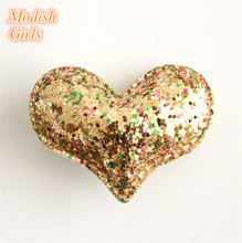 цена на Hotsale Mixed Colors Glitter Baby Girls Love Heart Design Hair Clips with Sequins Hair Clips Party Hair Accessory Heart Princess