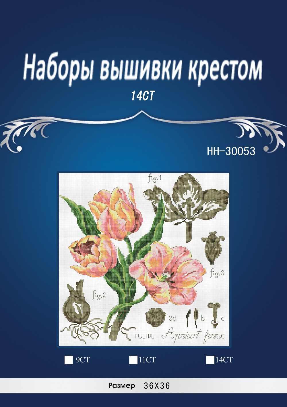 38X38CM, 14CT ชุดชุดปักครอสติชสีชมพู TULIP Tulipe POPPY ดอกไม้ดอกไม้พฤกษศาสตร์ Botanique CROSS Stitch DFEA