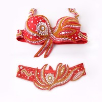 2 pieces Suit Stage Performance Luxury Belly Dancing Egyptian Costumes Oriental Style Rhinestone Belly Dance Bra Belt