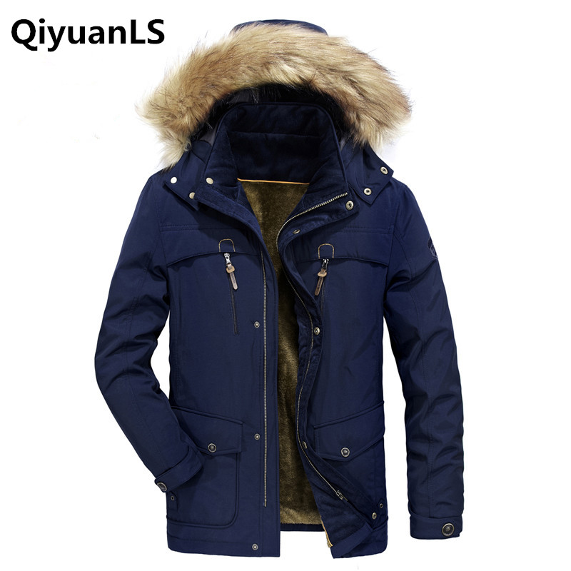 QiyuanLS Top Quality Warm Outwear Men Parkas Winter Jacket Thick Hood Men Parka Fleece Size M-4XL Casual Men's Outcoat Jacket [haotian vegetarian] box door hinge chinese antique brass door 12 5cm muffler coincide page hinge
