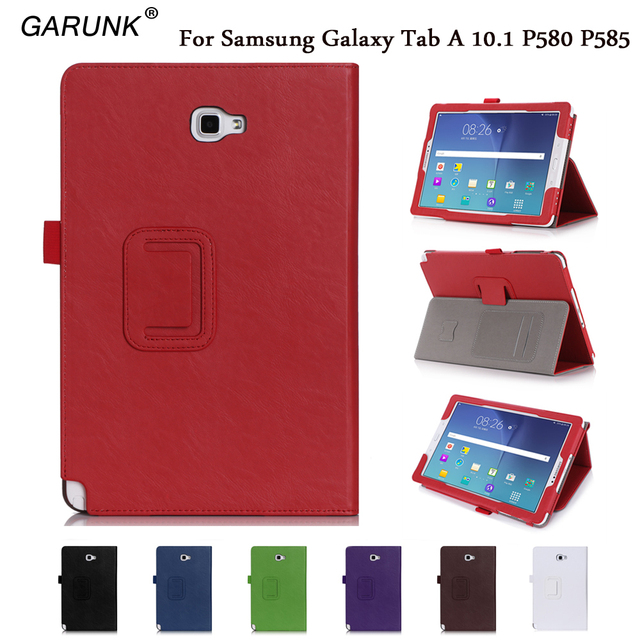 best service d78bb 9624e US $15.59 29% OFF|Tablet Case for SAMSUNG Galaxy Tab A A6 10.1''2016 with S  Pen P580 P585 High Quality PU Leather Card Hand Stand Protective Cover-in  ...
