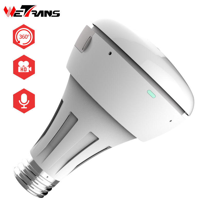 Wetrans IP Wifi Camera Wireless HD 3MP Fisheye Camera Wifi Security Smart CCTV Surveillance Panoramic Light Bulb IR Night Vision wetrans wireless camera ip wi fi light bulb hd 3mp led security smart cctv camera panoramic wi fi alarm p2p audio night vision