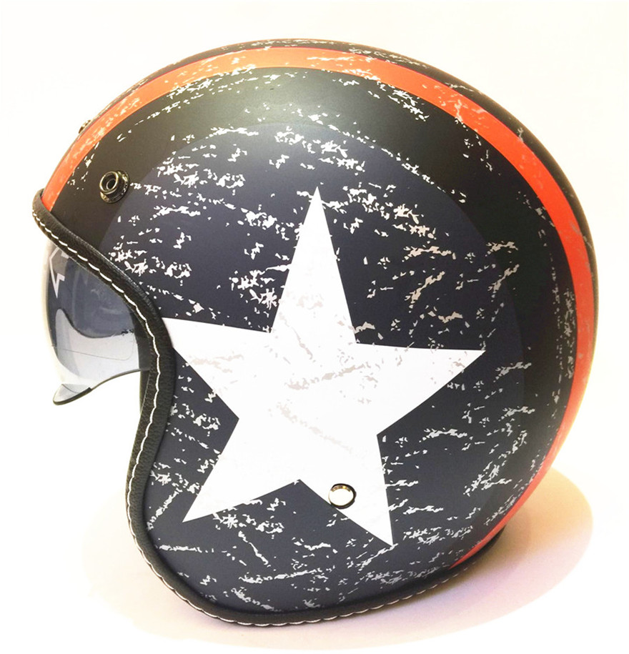 Russe haley demi-casque livraison gratuite 2017 casque de moto rétro vintage motocross casque 3/4 ouvert visage scooter casques