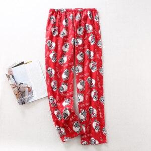 Image 4 - Pijama de algodón cepillado para mujer, 100% de oveja, cálido, sexy, rojo, talla grande
