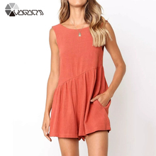 Women Summer Solid Playsuit Sleeveless Backless Loose Casual Jumpsuit Beach Party Pleated Vest Western Style
