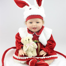 Wholesale 22 Inches Cute Newborn Baby Smile Girl Dolls For Kids House Playmate Soft Silicone Reborn Babies With Rabbit Clothes