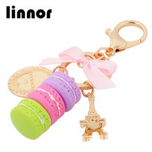 Linnor Lovely Food Cake Macaron Keychains Keyring Gold Metal Fashion Paris Tower Key Chain Holder Rings for Girls Party Gift(China)