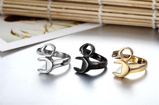 Men's Wrench Automotive Style Titanium Ring