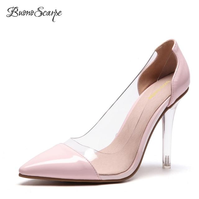 1237a277d95c BuonoScarpe Patent Leather Transparent Pumps Clear PVC High Heels Women  Shoes Cap Toe Pointy Stiletto Lady Wedding Shoes Female