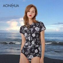 AONIHUA Swimsuit Women 1 One Piece Short Sleeve Bodysuit African Printed Beach Wear Slim Black Swimwear For Female Swim Suit XXL