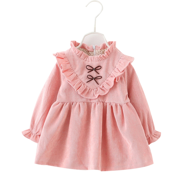 MESOLO New 2019 cotton Kids clothes Girls long-sleeved Girls baby dress baby clothing dress vestidos 1