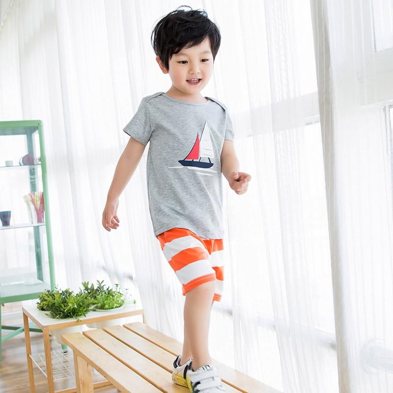 Children Tracksuit Girls Clothes Kids T-Shirts Shorts Boys Cotton Cartoon Summer