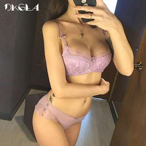 Image 1 - Young Girl Green Sexy Bra Set Plus Size D Cup Thin Cotton Brassiere Lace Underwear Women Sets Black Embroidery Lingerie Luxury