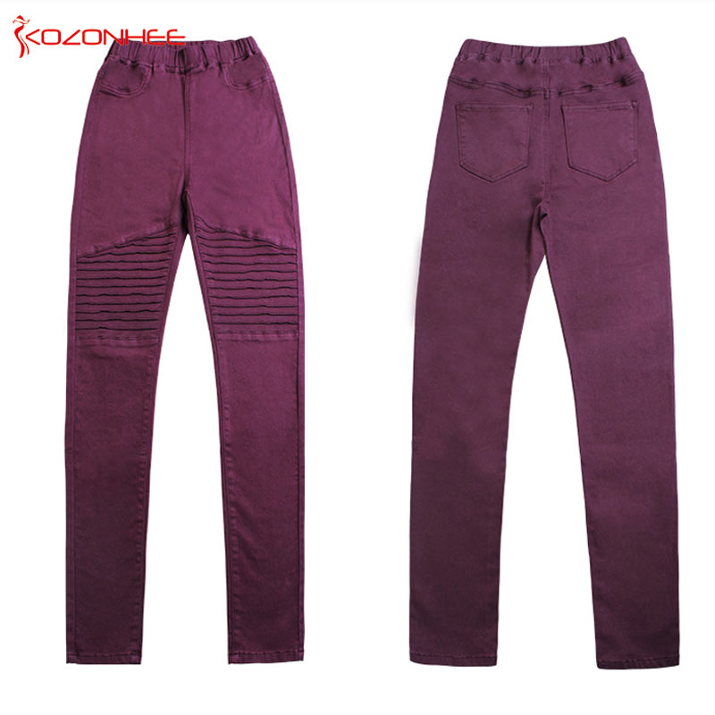 Motor Stretch Women`s Jeans With High Waist Tights Elasticity Jeans For Girls With Zipper Pencils Trousers For Women #0105