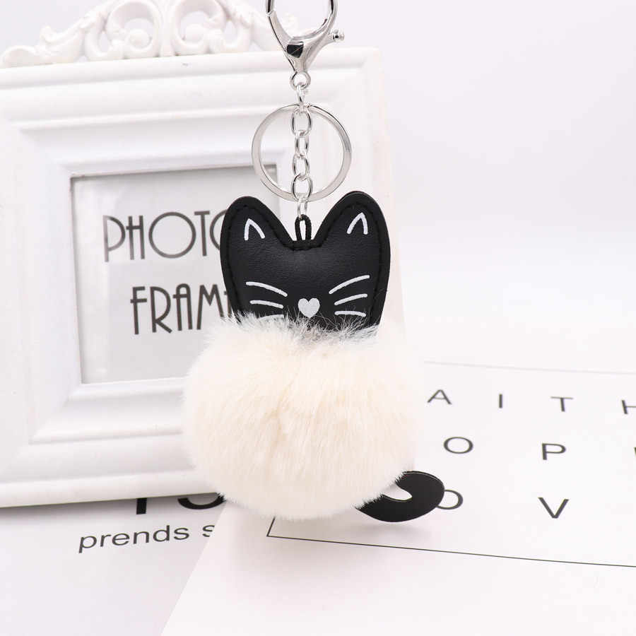 ZOEBR Car Keyring Snow Fur Key Holder Rabbit Fur Ball Key Chain Black Cat Head Doll Keychain Animal Pompom Pendant Charm Jewelry