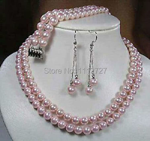 Jewelry Set 2rows 8mm Pink South Sea Shell Pearl Necklace