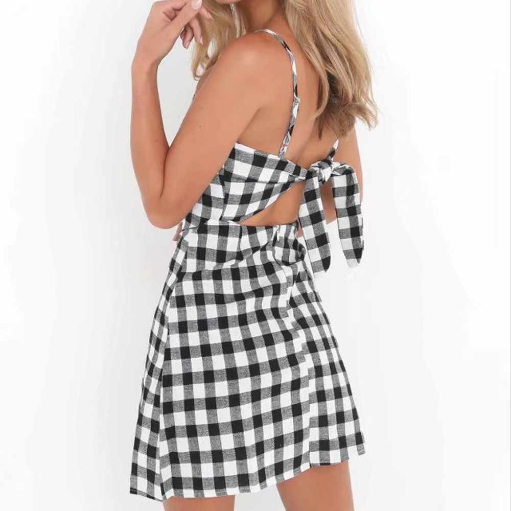 Women's Plaid Dress 2019 Women's Backless Collar Bow Black and White Plaid Beach Mini Polyester Dress robe moulante femme