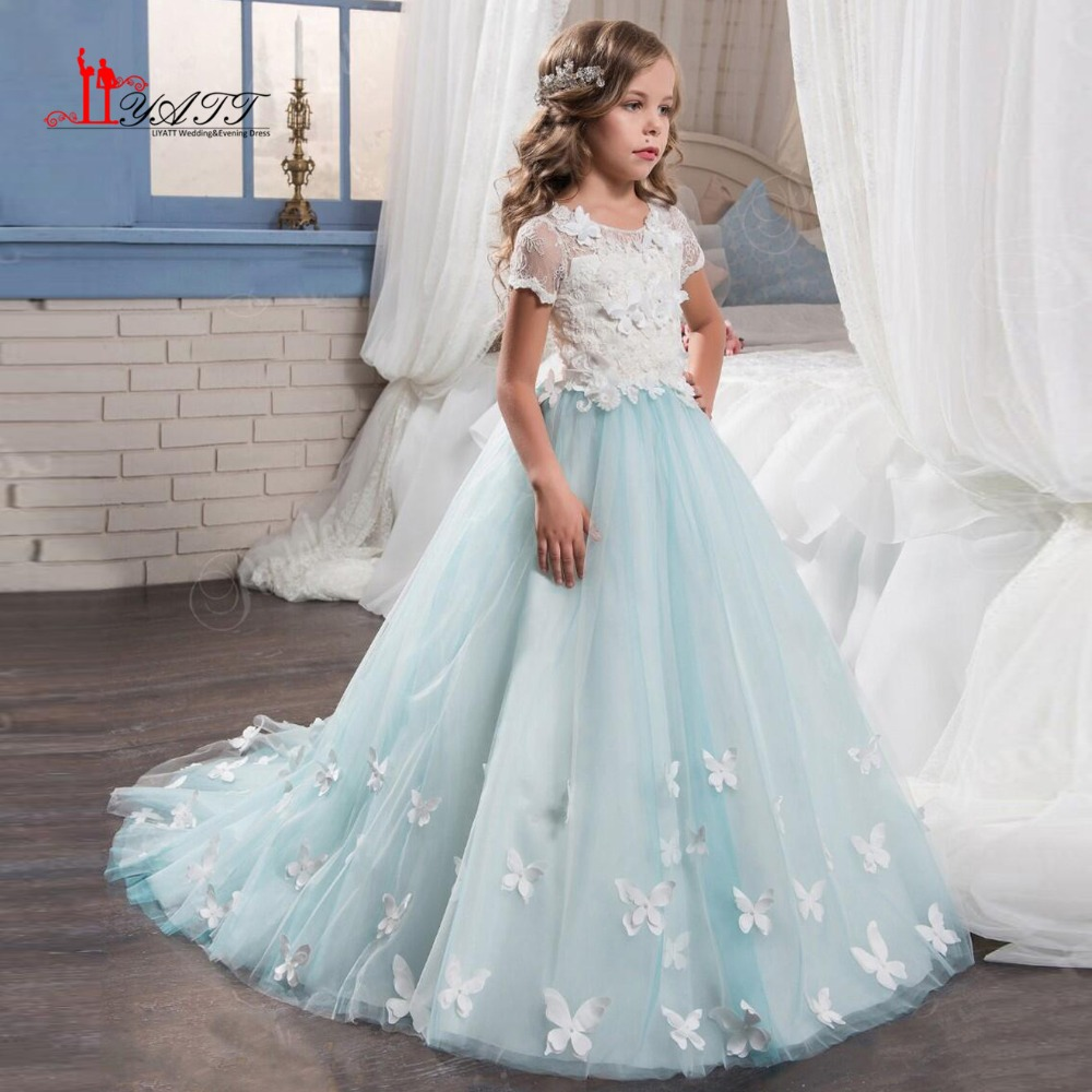 Flower Girl Dresses For Garden Weddings: Vintage Mint Floral Lace Arabic 2017 Flower Girl Dresses