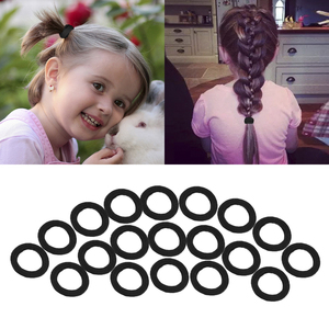 50Pcs/Set Solid Color Hair Circle Black Nylon Elastic Hair Bands Ponytail Rubber Bands Scrunchie Headbands Hair Accessories