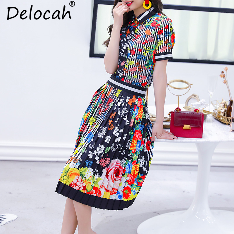 Delocah Autumn Women Set Runway Fashion Designer Short Sleeve Slim Shirt+Flower Printed Knee-Length Pleated Skirt Two Sets