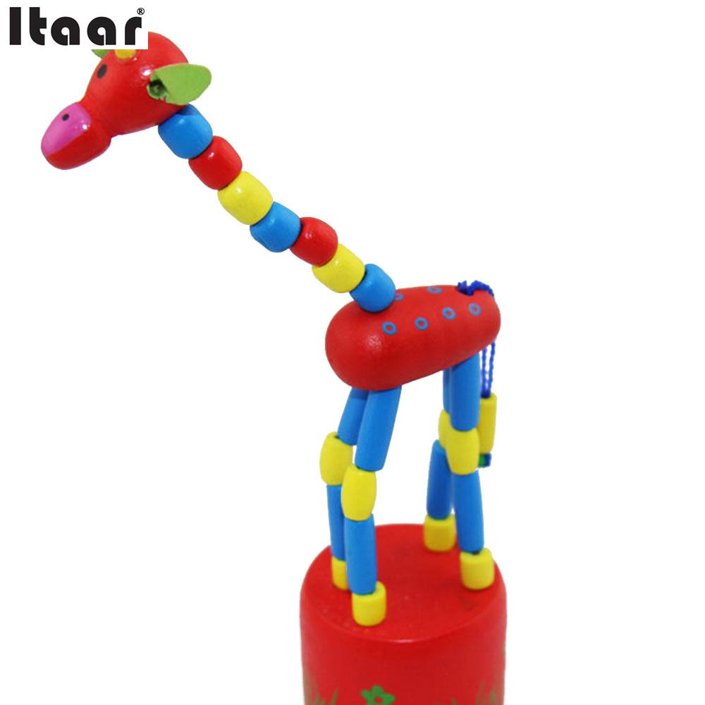 Giraffe Puppet Wooden Swing Kids Educational Cartoon Fun Hand Finger Animal Toys