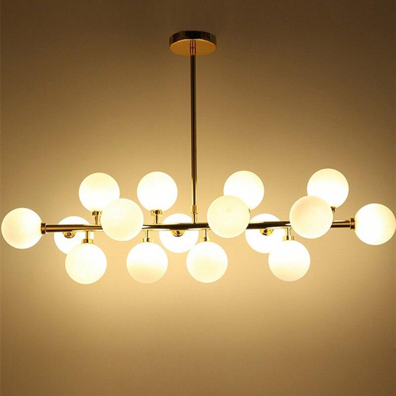 LED Pendentif Lampes Moderne Lampes Suspendues lampes Suspendues pour la Cuisine Or Suspension Luminaire Lamparas Éclairages 16 Verre D123
