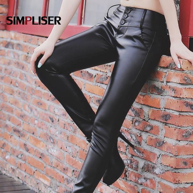 5c09eb5cdf29a8 Women high waist leather pants black winter ladies stretch faux leather  trousers plus size 4XL pencil