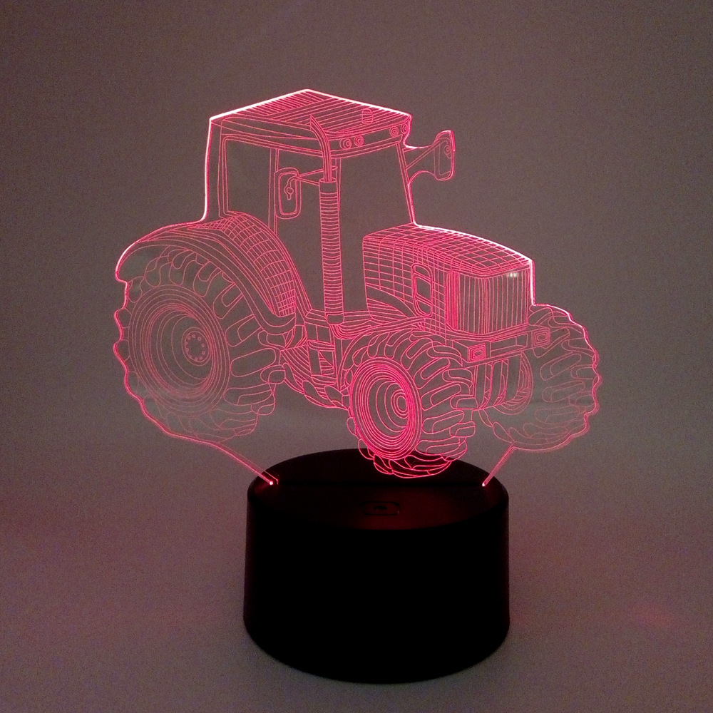New Tractor 3d Nightlight Remote Touch Colorful Gift Led Night Light Novelty Luminaria Led 3d Light Fixtures new bicycles 3d lights led 7 colorful remote control 3d lamp acrylic visual light novelty luminaria led night light