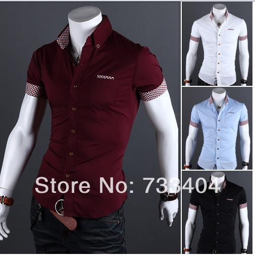 a2d2d563 2014 Fashion Men Shirts Short Sleeve Turn Down Collar Single Breasted Casual  Plaid Pattern Men Cotton Shirts Free Shipping 9019