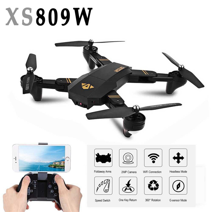 Mini Drone XS809W Foldable RC Selfie Drone Wifi Real Time FPV 2MP Photography jjr c jjrc h43wh h43 selfie elfie wifi fpv with hd camera altitude hold headless mode foldable arm rc quadcopter drone h37 mini