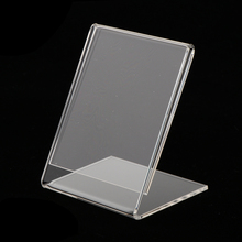 Clear Acrylic Sign Holder Stand Lable Display Leaflet Name Card Organizer Slanted Holders