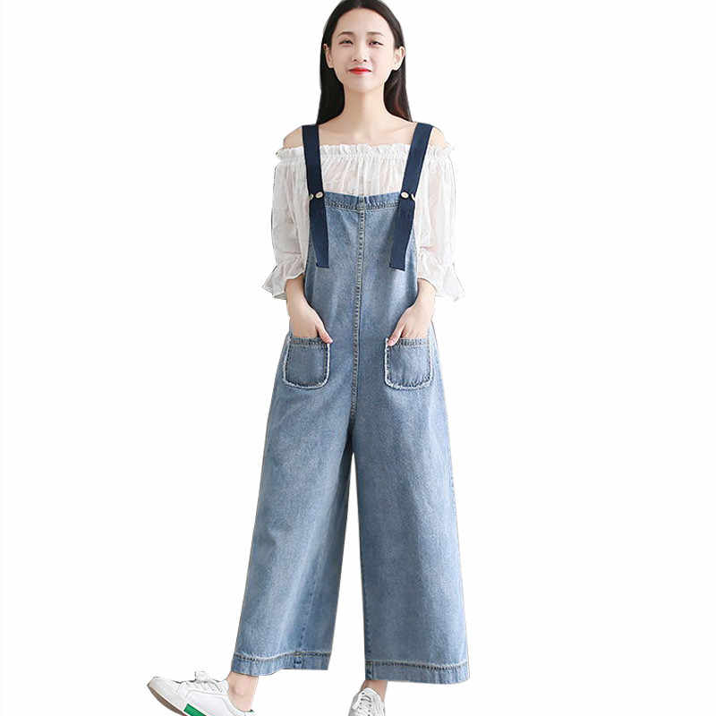 1b2cd18021da MORUANCLE Lady Fashion Baggy Flare Jeans Jumpsuits Loose Fit Wide Leg Denim  Bib Overalls Romper Women