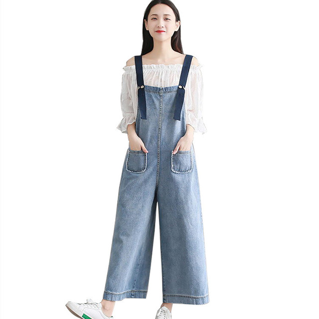 26c1f916d30f MORUANCLE Lady Fashion Baggy Flare Jeans Jumpsuits Loose Fit Wide Leg Denim  Bib Overalls Romper Women Suspender Pants Size S-5XL
