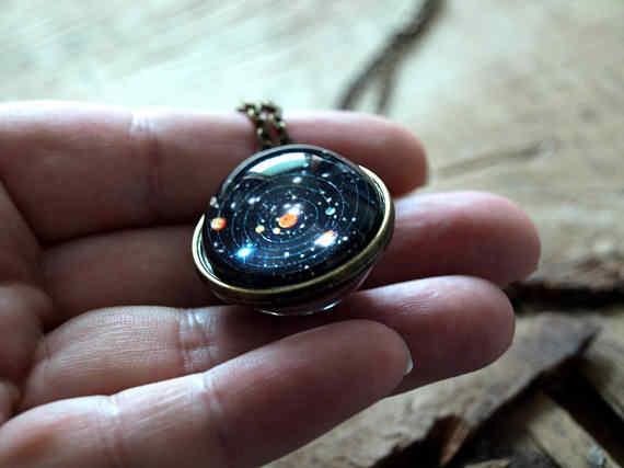 2019 新しい時間宝石星雲銀河惑星宇宙ネックレスガラスボールペンダントソーラーシステムネックレス女性子供のためのジュエリー