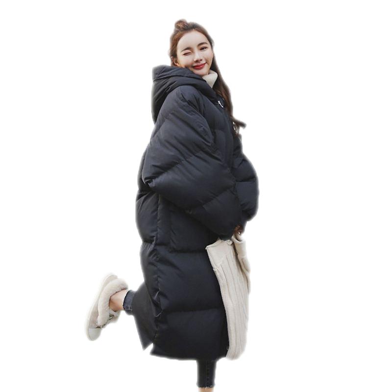 Winter New Women Long Down Cotton Jacket Female Loose Hooded Oversize Warm Thick Padded Coat Ladies Fashion   Parkas   Outerwear D58