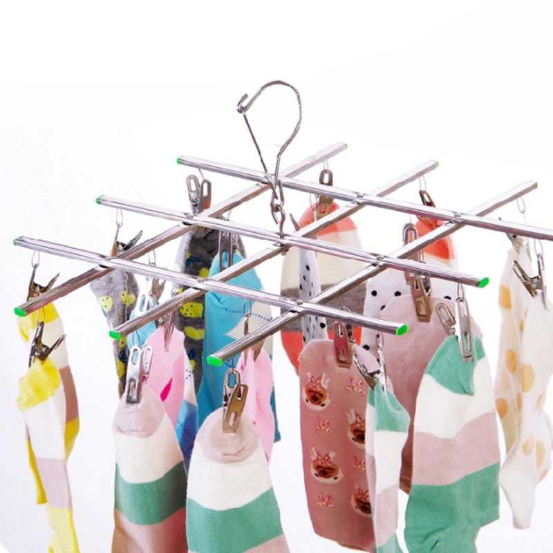 20 Clips Windproof Laundry Hanger Collapsible Stainless Steel Hanging Rack 20 Clothespin Clothes Pegs