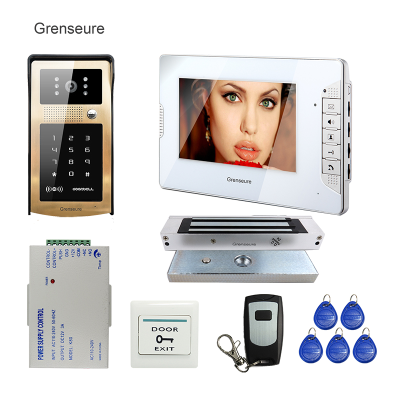 FREE SHIPPING 7 White Monitor Video Door Phone Intercom System Metal Touch Key RFID Keypad Outdoor Camera 180kg Magnetic Lock original 7 inch touch screen dahua dh vth1550ch color monitor with to2000a outdoor ip metal villa outdoor video intercom system