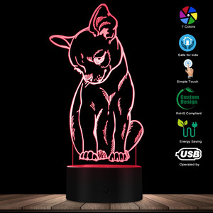 Image 2 - Cute Little Dog Chihuahua Breed Portrait 3D Optical illusion Night Light With Color Changing Animal Pet Puppy Bedroom Table Lamp