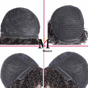 Short Curly Human Hair Wigs Afro Kinky Curly Human Hair Short Wigs Remy Hair Ombre Color for Black Woman