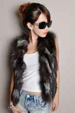 Free shipping  new arrived pure silver fox fur coats Silver fox fur vests ladies womens coat  wholesale price