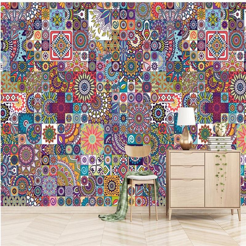 Benutzerdefinierte Größe Wandbild Tapete Hintergrund Fotografie  Europäischen Mosaik Farbe Malerei Badezimmer Wandmalerei Für Wohnzimmer  Dekor