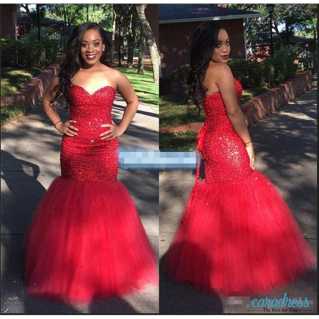 c313124dbea Sparkly Red Sequined Mermaid Prom Dressese For Black Girls Sweetheart Lace  Up Sweep Train Plus Size Formal Evening Dresses