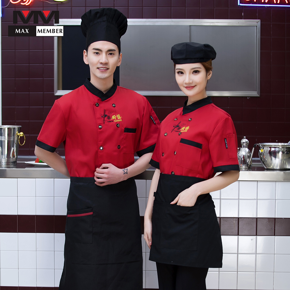 High Quality Summer Chef Restaurant Kitchen Work Uniforms Short-sleeved Casual Tops Cooking Jackets Men Women Catering Overalls