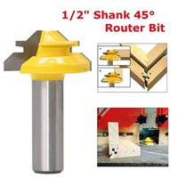 """2 3 3 1/2"""" Shank Wood Cutter Router Bit 45 Degree Lock Miter Milling Cutter Width 1-3/8"""" Wood work Tenon Tool For Woodworking Tool (1)"""