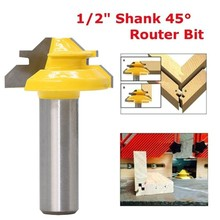 1/2 Shank Wood Cutter Router Bit 45 Degree Lock Miter Milling Cutter Width 1-3/8 Wood work Tenon Tool For Woodworking Tool new 1pc 1 4 shank lock miter router bit 45 degree woodworking cutter 1 1 2 diameter for capenter tools