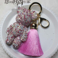 Free Shipping! Luxury Cute Bling Full Rhinestones Gloomy Bear Keychain Car Key Chain Ring Pendant For Bag Charm Hotsale Gifts