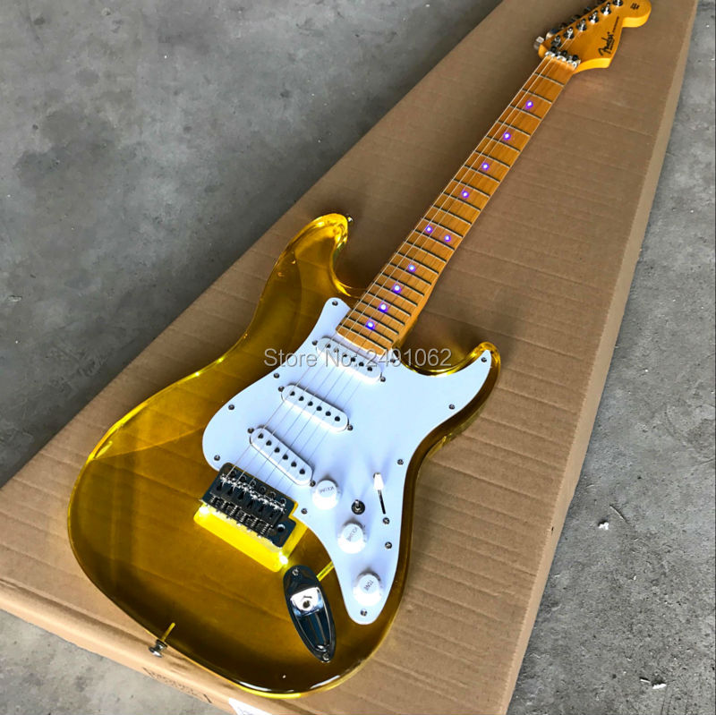 Acrylic lens yellow LED lamp electric guitar free shipping