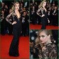 Free shipping Black Lace Red Carpet dress 66th Cannes Film Festival 2016 V Neck  Celebrity Cara Delevingne Dress